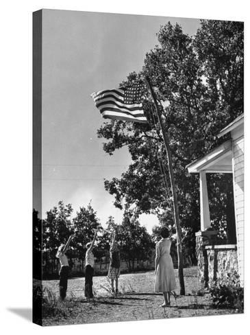 Farmers Family Saluting the Us Flag, During the Drought in Central and South Missouri-John Dominis-Stretched Canvas Print