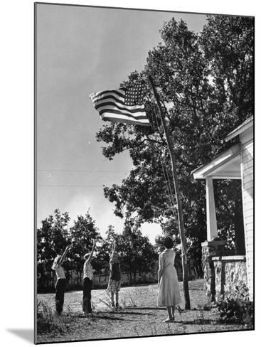 Farmers Family Saluting the Us Flag, During the Drought in Central and South Missouri-John Dominis-Mounted Photographic Print