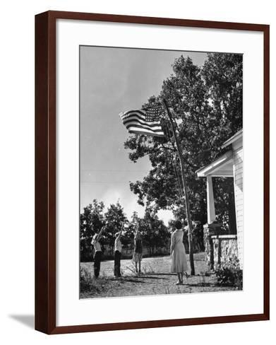 Farmers Family Saluting the Us Flag, During the Drought in Central and South Missouri-John Dominis-Framed Art Print