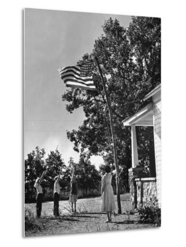 Farmers Family Saluting the Us Flag, During the Drought in Central and South Missouri-John Dominis-Metal Print