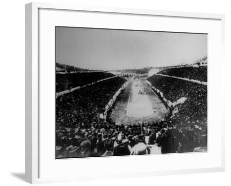 Panathenian Stadium During Olympic Games--Framed Art Print