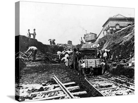Workers Excavating Site of Northern Railway--Stretched Canvas Print