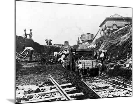 Workers Excavating Site of Northern Railway--Mounted Photographic Print