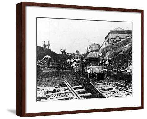 Workers Excavating Site of Northern Railway--Framed Art Print