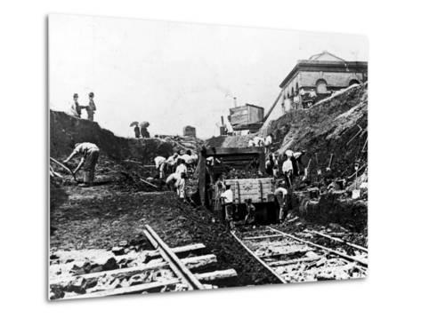 Workers Excavating Site of Northern Railway--Metal Print