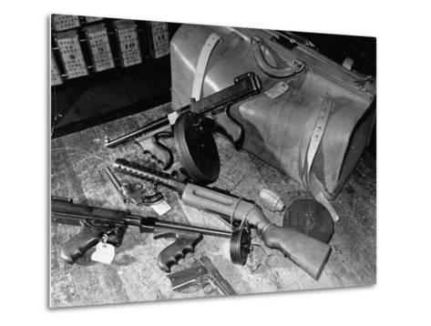 Arsenal of Machine Guns, Pistols, Shotguns Etc.- Belongs to Recently Captured Frank Dailey and Gang-Carl Mydans-Metal Print