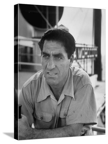 Skipper Jose De Burgana, Who Once Crossed Ocean in a Motorboat-Ralph Crane-Stretched Canvas Print