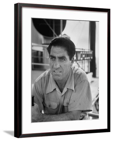 Skipper Jose De Burgana, Who Once Crossed Ocean in a Motorboat-Ralph Crane-Framed Art Print