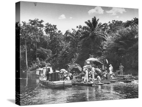 "Boating Floating on the River Where the Shooting of the Movie ""The African Queen"" Is Taking Place--Stretched Canvas Print"