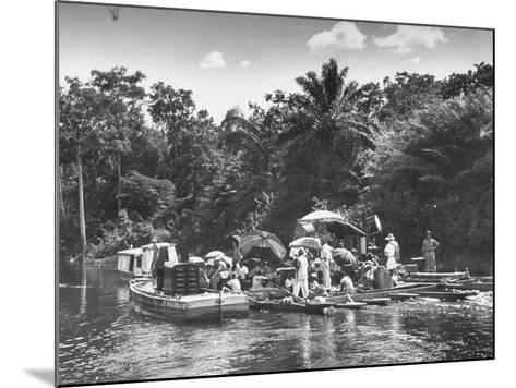 "Boating Floating on the River Where the Shooting of the Movie ""The African Queen"" Is Taking Place--Mounted Photographic Print"