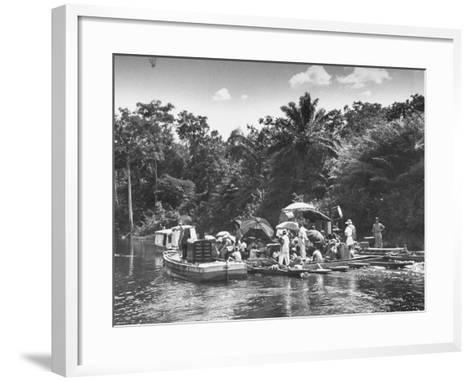 "Boating Floating on the River Where the Shooting of the Movie ""The African Queen"" Is Taking Place--Framed Art Print"