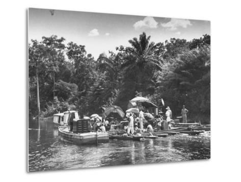 "Boating Floating on the River Where the Shooting of the Movie ""The African Queen"" Is Taking Place--Metal Print"