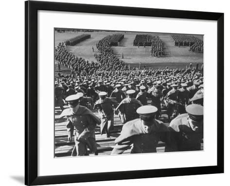 West Point Cadets Swarming into Bleachers for Army-Navy Game at Baltimore Stadium-Alfred Eisenstaedt-Framed Art Print