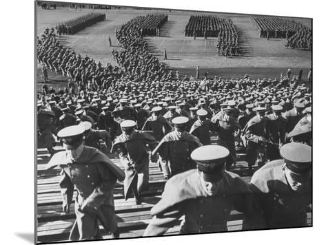 West Point Cadets Swarming into Bleachers for Army-Navy Game at Baltimore Stadium-Alfred Eisenstaedt-Mounted Photographic Print