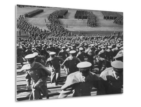 West Point Cadets Swarming into Bleachers for Army-Navy Game at Baltimore Stadium-Alfred Eisenstaedt-Metal Print