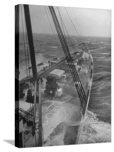 Wave Breaking over Deck of Liner Queen Elizabeth During Severe Storm on North Atlantic Crossing-Alfred Eisenstaedt-Stretched Canvas Print