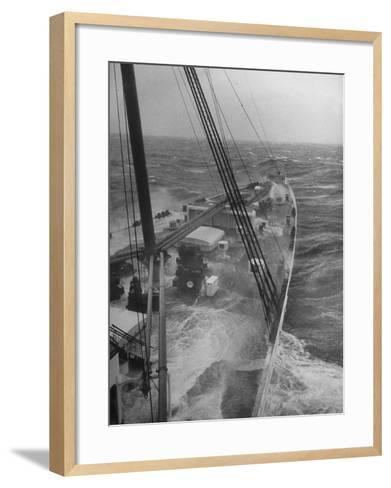 Wave Breaking over Deck of Liner Queen Elizabeth During Severe Storm on North Atlantic Crossing-Alfred Eisenstaedt-Framed Art Print