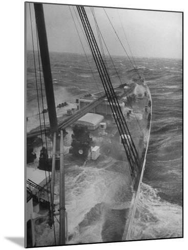 Wave Breaking over Deck of Liner Queen Elizabeth During Severe Storm on North Atlantic Crossing-Alfred Eisenstaedt-Mounted Photographic Print