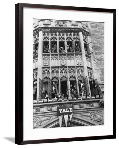 Vassar Girls Cheering Cyclists from Windows-Yale Joel-Framed Art Print