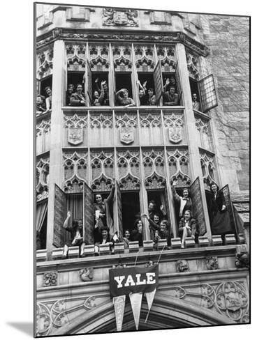 Vassar Girls Cheering Cyclists from Windows-Yale Joel-Mounted Photographic Print
