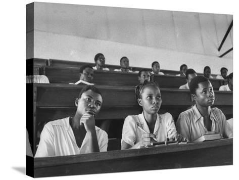 Medical Students Listening to a Lecture at University College-Alfred Eisenstaedt-Stretched Canvas Print