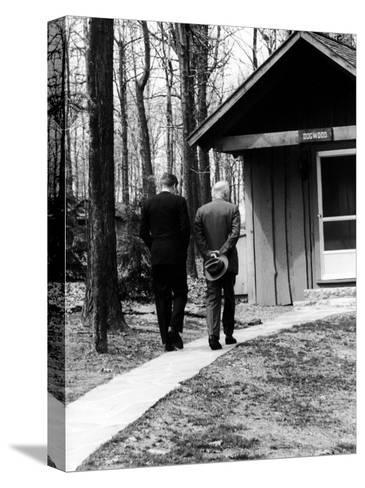 Pres. John F. Kennedy and Dwight D. Eisenhower at Camp David Discussing Cuba--Stretched Canvas Print
