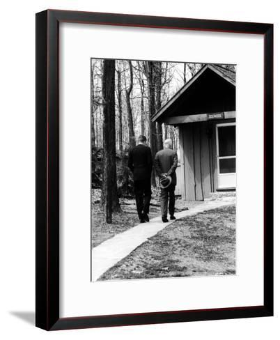 Pres. John F. Kennedy and Dwight D. Eisenhower at Camp David Discussing Cuba--Framed Art Print