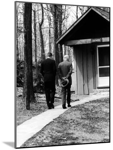 Pres. John F. Kennedy and Dwight D. Eisenhower at Camp David Discussing Cuba--Mounted Photographic Print