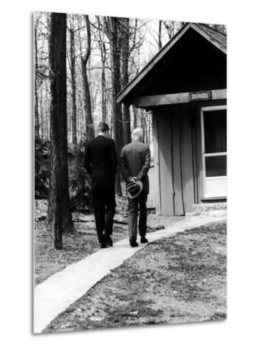 Pres. John F. Kennedy and Dwight D. Eisenhower at Camp David Discussing Cuba--Metal Print