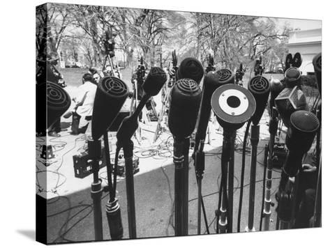 Microphones of Newsmen Outside White House During Kennedy-Gromyko Meeting--Stretched Canvas Print
