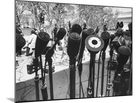 Microphones of Newsmen Outside White House During Kennedy-Gromyko Meeting--Mounted Photographic Print