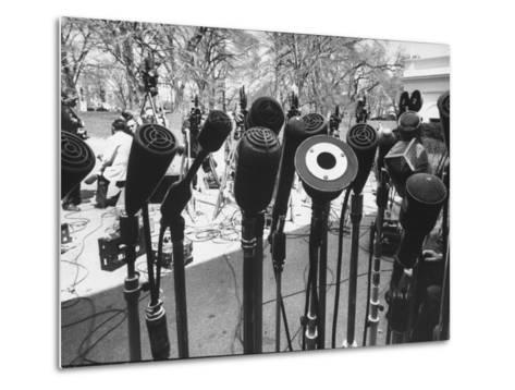 Microphones of Newsmen Outside White House During Kennedy-Gromyko Meeting--Metal Print