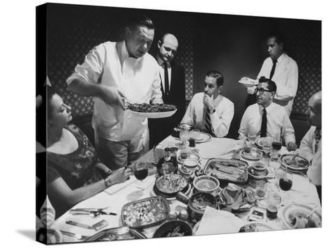 President of Restaurant Associates Jerome Brody at La Fonda Del Sol Restaurant-Yale Joel-Stretched Canvas Print