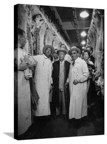 Nikita S. Khrushchev on Tour of Meat Packing Plant-Carl Mydans-Stretched Canvas Print