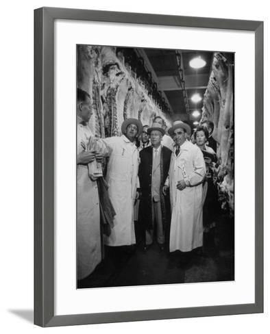 Nikita S. Khrushchev on Tour of Meat Packing Plant-Carl Mydans-Framed Art Print