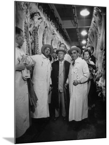 Nikita S. Khrushchev on Tour of Meat Packing Plant-Carl Mydans-Mounted Photographic Print