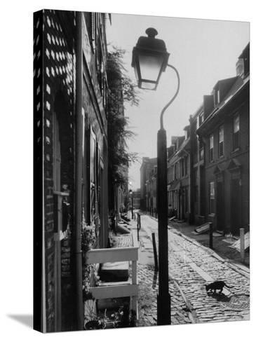 Old Fashioned Street Light in Elfreth's Alley-Andreas Feininger-Stretched Canvas Print