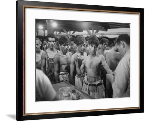 """Mexican """"Braceros"""" Being Examined at Reception Center before Being Put to Work--Framed Art Print"""
