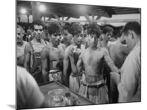"""Mexican """"Braceros"""" Being Examined at Reception Center before Being Put to Work--Mounted Photographic Print"""
