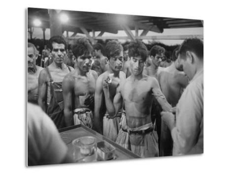 """Mexican """"Braceros"""" Being Examined at Reception Center before Being Put to Work--Metal Print"""