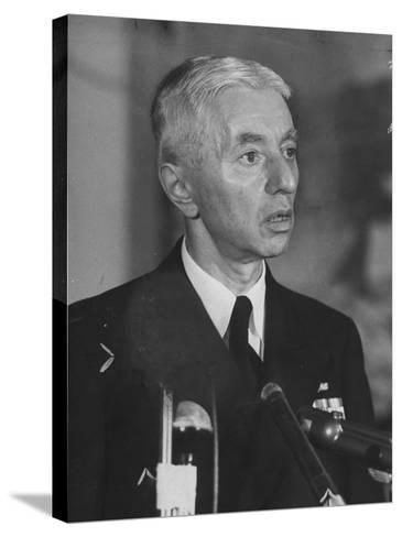 Hyman Rickover Speaking at a Press Conference-Peter Stackpole-Stretched Canvas Print