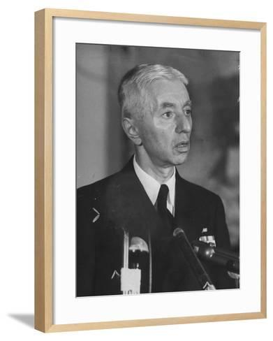 Hyman Rickover Speaking at a Press Conference-Peter Stackpole-Framed Art Print