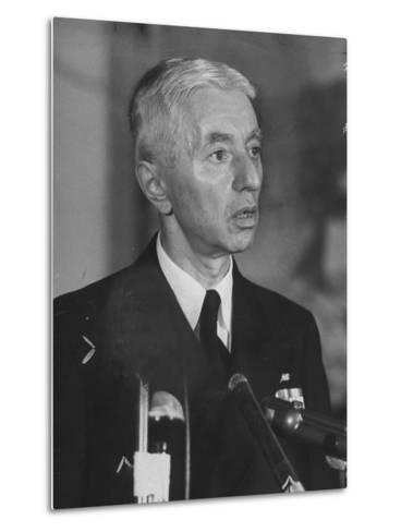 Hyman Rickover Speaking at a Press Conference-Peter Stackpole-Metal Print