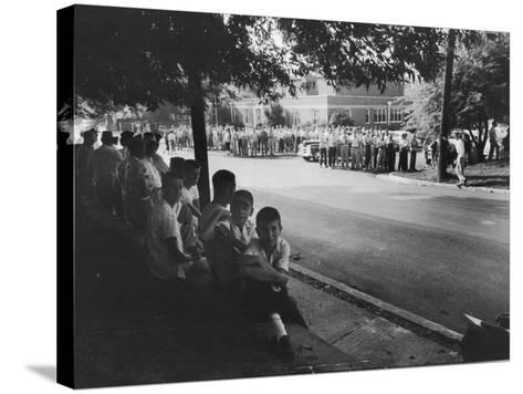Scene in Front of Clinton High School on the First Day of Intergration--Stretched Canvas Print