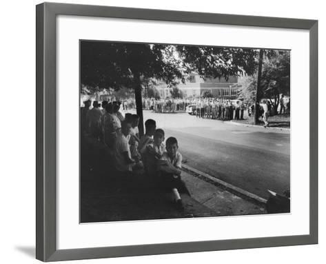 Scene in Front of Clinton High School on the First Day of Intergration--Framed Art Print