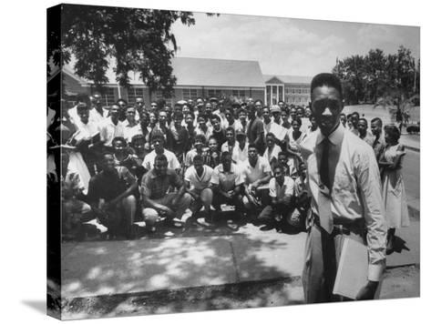 Leader Brodus Hartley W. Demonstrators at a and M Campus During Bus Boycott--Stretched Canvas Print