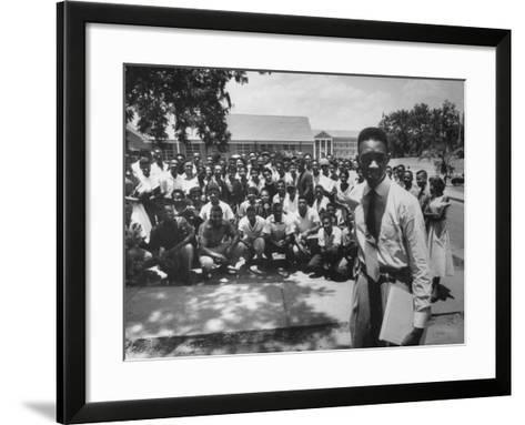 Leader Brodus Hartley W. Demonstrators at a and M Campus During Bus Boycott--Framed Art Print