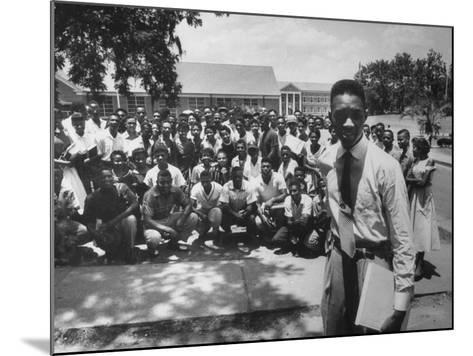 Leader Brodus Hartley W. Demonstrators at a and M Campus During Bus Boycott--Mounted Photographic Print