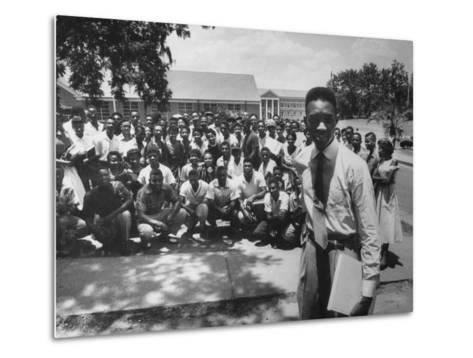 Leader Brodus Hartley W. Demonstrators at a and M Campus During Bus Boycott--Metal Print