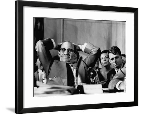 Sen. John L. Mcclellan and Robert F. Kennedy, During the Army-McCarthy Hearings-Yale Joel-Framed Art Print